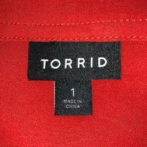 torrid Tops - Torrid Tangerine 1/2 Button Down Blouse -SZ 1X